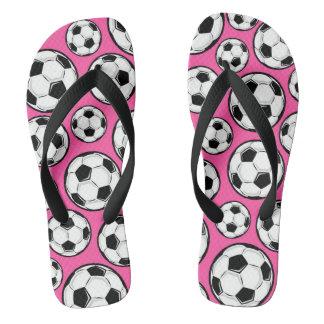 ピンクのサッカーの女の子パターン ビーチサンダル
