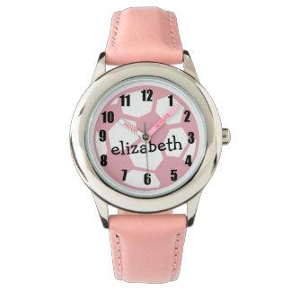 ピンクのサッカーボール 腕時計