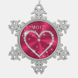 ピンクのサテンのダイヤモンドのハート スノーフレークピューターオーナメント