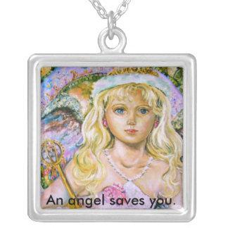 ピンクのサファイアの天使は。、天使…救います シルバープレートネックレス