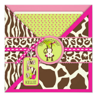 ピンクのサファリのジャングル猿の第5誕生日 カード