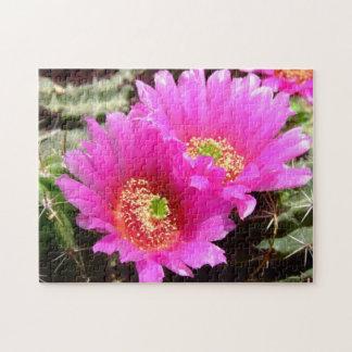 ピンクのサボテンの花のパズル ジグソーパズル