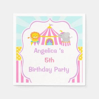 ピンクのサーカスの大テントのサーカスのカーニバルの誕生日 スタンダードカクテルナプキン