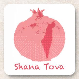 ピンクのザクロShana Tova コースター
