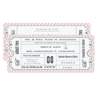 ピンクのシェブロンのジグザグ形のヴィンテージのモダンなチケットの結婚式 カード
