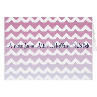 ピンクのシェブロンのnotecard カード