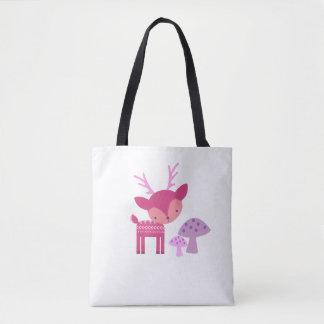 ピンクのシカおよびきのこのトート トートバッグ
