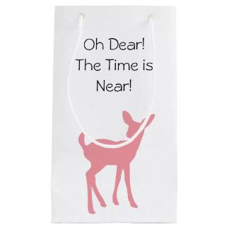 ピンクのシカの森林森林動物のベビーシャワー スモールペーパーバッグ