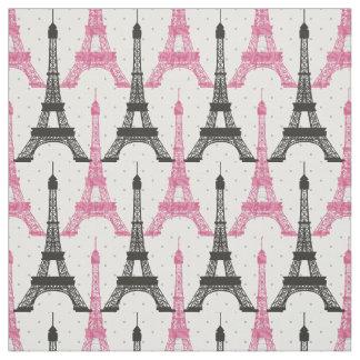 ピンクのシックなエッフェル塔パターン ファブリック