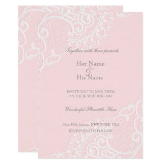 ピンクのシックなヴィンテージのエレガントなレースの結婚式 12.7 X 17.8 インビテーションカード