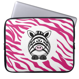 ピンクのシマウマのアニマルプリントの動物園のギフトのかわいいシマウマ ラップトップスリーブ