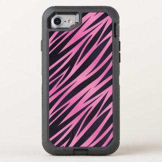 ピンクのシマウマのストライプの背景 オッターボックスディフェンダーiPhone 8/7 ケース
