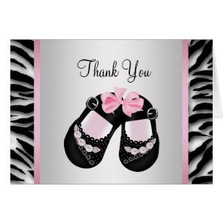 ピンクのシマウマのピンクの黒の女の赤ちゃんのシャワーは感謝していしています カード