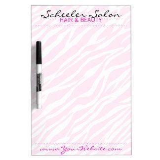 ピンクのシマウマのプリントのカスタムなサロンのスパの伝言板 ホワイトボード