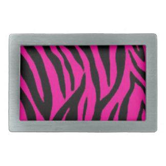 ピンクのシマウマのプリントのデザイン 長方形ベルトバックル