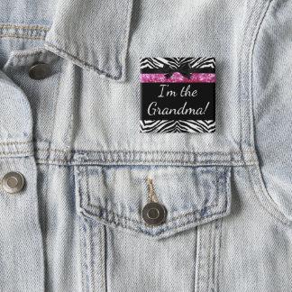 ピンクのシマウマの女の子の新生児のシャワーの祖母の名札 5.1CM 正方形バッジ