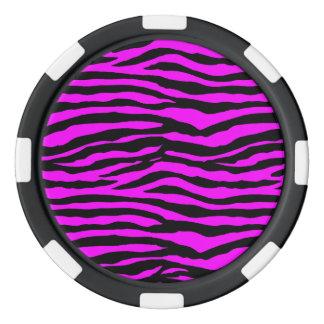 ピンクのシマウマは縞で飾ります ポーカーチップ