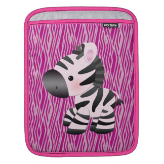ピンクのシマウマ及びアニマルプリントのiPad及びラップトップスリーブ iPadスリーブ