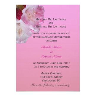 ピンクのシャクナゲの花の結婚式招待状 カード