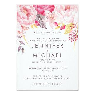 ピンクのシャクヤクの水彩画の花柄の結婚式招待状 カード
