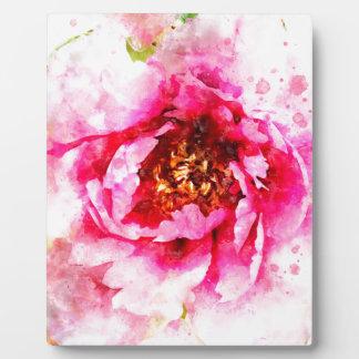 ピンクのシャクヤクの水彩画 フォトプラーク
