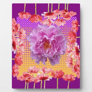 ピンクのシャクヤクの紫色の花の芸術 フォトプラーク