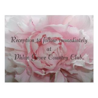 ピンクのシャクヤクの結婚披露宴カード ポストカード