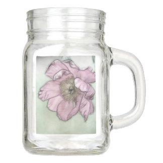 ピンクのシャクヤクの花のスケッチ メイソンジャー