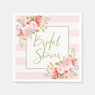 ピンクのシャクヤクの花のブライダルシャワーの紙ナプキン スタンダードカクテルナプキン