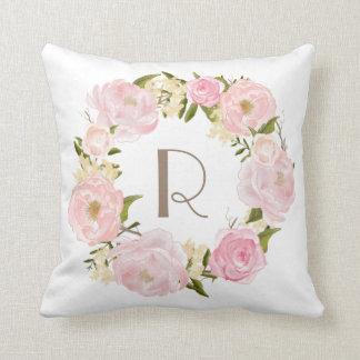 ピンクのシャクヤクの花のリースのモノグラムの枕 クッション