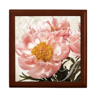 ピンクのシャクヤクの花の大理石の原稿の背景 ギフトボックス