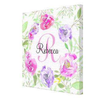 ピンクのシャクヤクの花の水彩画のモノグラム キャンバスプリント