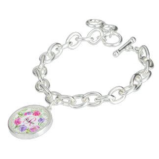 ピンクのシャクヤクの花の水彩画のモノグラム ブレス