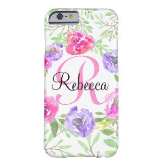 ピンクのシャクヤクの花の水彩画のモノグラム iPhone 6 ベアリーゼアケース