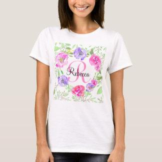 ピンクのシャクヤクの花の水彩画のモノグラム Tシャツ