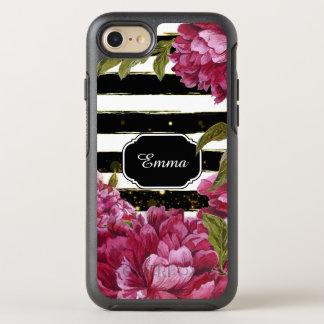 ピンクのシャクヤクの花の白黒のストライプ オッターボックスシンメトリーiPhone 8/7 ケース