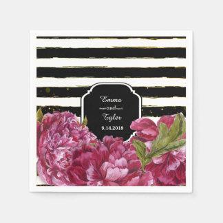 ピンクのシャクヤクの花の白黒ストライプ スタンダードカクテルナプキン