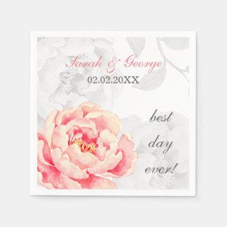 ピンクのシャクヤクの花の結婚式 スタンダードカクテルナプキン