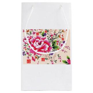 ピンクのシャクヤクの花 スモールペーパーバッグ