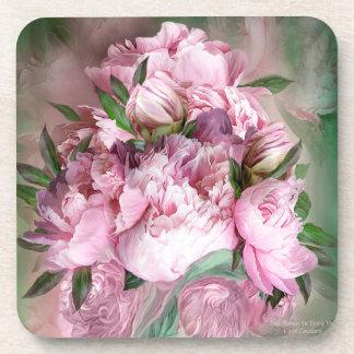 ピンクのシャクヤクの芸術のコースター コースター