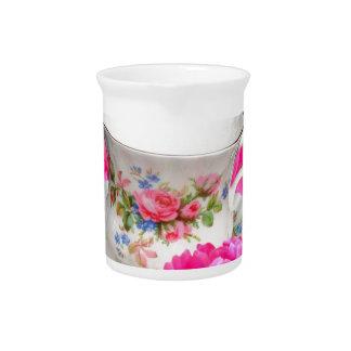 ピンクのシャクヤクの茶時間芸術 ピッチャー