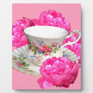 ピンクのシャクヤクの茶時間芸術 フォトプラーク