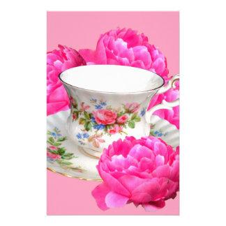 ピンクのシャクヤクの茶時間芸術 便箋