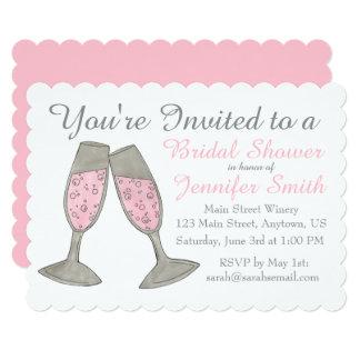ピンクのシャンペンのトーストのブライダルシャワーの招待状 カード