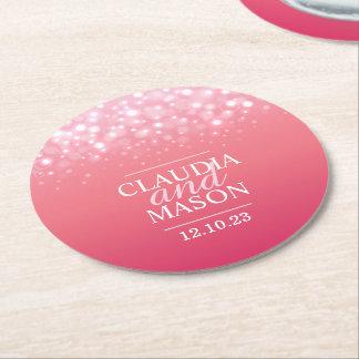 ピンクのシャンペンの紙のコースターの結婚 ラウンドペーパーコースター