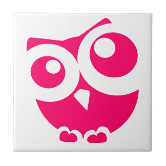 ピンクのシンプルなフクロウ タイル