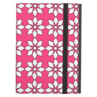 ピンクのシンプルな白い花 iPad AIRケース