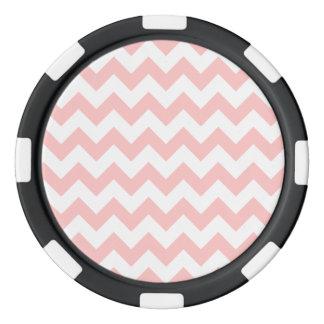 ピンクのジグザグ形のガーリーなストライプなシェブロンパターン ポーカーチップ