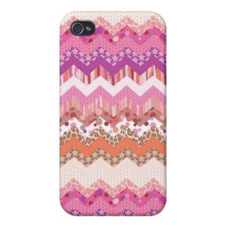 ピンクのジグザグ形の背景 iPhone 4/4Sケース