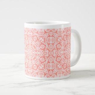 ピンクのジャカードデザインのジャンボマグ ジャンボコーヒーマグカップ